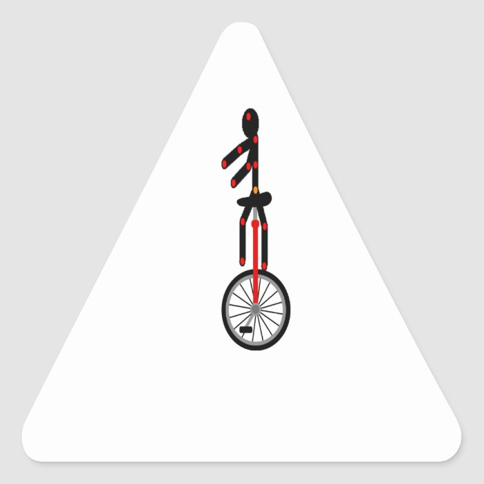 Fantastic Unicycle in the circus Triangle Sticker
