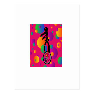 Fantastic Unicycle in the circus With Background Postcard