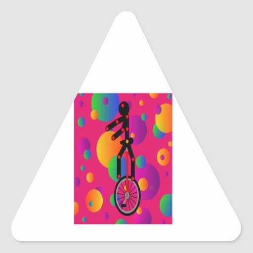 Fantastic Unicycle in the circus With Background Triangle Sticker
