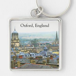 Fantastic View, Oxford, England, Roof Top #1 Silver-Colored Square Keychain