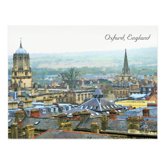 Fantastic View, Oxford, England, Roof Top #1 Postcard