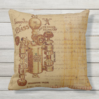 FANTASTIC VINTAGE INDUSTRIAL PATENT Throw Cushion