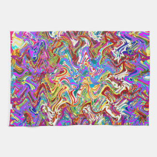 Fantastic Waves Colorful Abstract Art Kitchen Towel