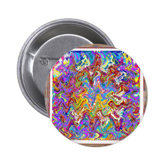 Fantastic Waves Colorful Abstract Art Pinback Button