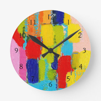 Fantastical Abstract Painting by Kris Taylor Round Clock