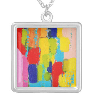 Fantastical Abstract Painting by Kris Taylor Square Pendant Necklace