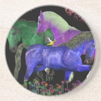 Fantastical colored horse design, black back coaster