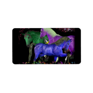 Fantastical colored horse design, black back label