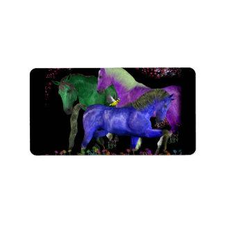 Fantastical colored horse design, black back address label