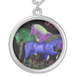 Fantastical colored horse design, black back necklaces