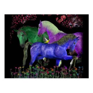 Fantastical colored horse design, black back postcard