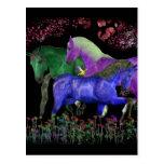 Fantastical colored horse design, black back post cards
