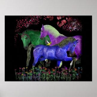 Fantastical colored horse design, black back posters