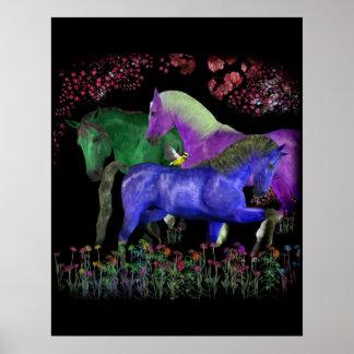 Fantastical colored horse design, black back print