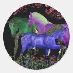 Fantastical colored horse design, black back round stickers