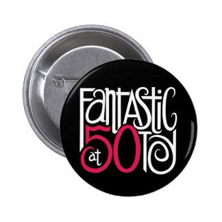 Fantástico en el botón de 50 blancos pin redondo de 2 pulgadas