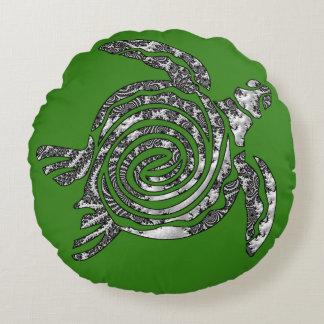 Fantasy 3 D Turtle Round Pillow
