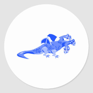 Fantasy 3 headed Dragon Round Sticker