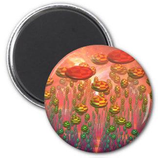 Fantasy alien garden 2 inch round magnet