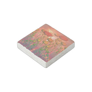 Fantasy alien garden stone magnet