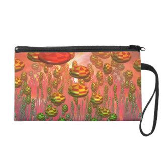 Fantasy alien garden wristlet purse