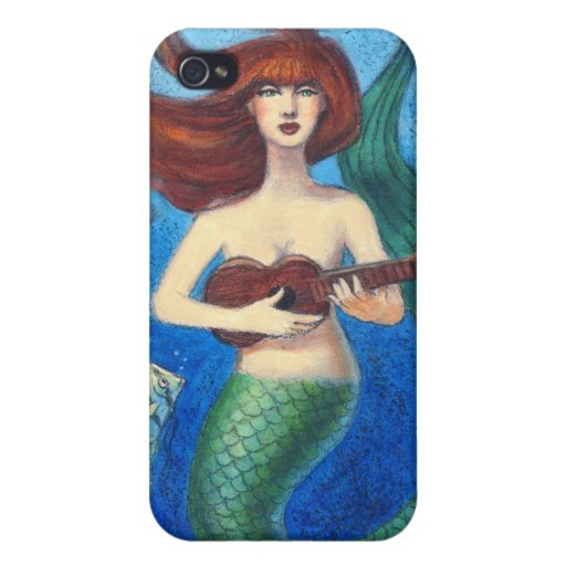 Fantasy Art iphone 4 case, Cute Mermaid & Ukulele iPhone 4 Covers