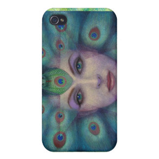 Fantasy Art Peacock Feathers Lady  iPhone 4 Case