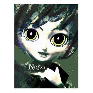 Fantasy Art  Postcard, Neko Girl Green Postcards