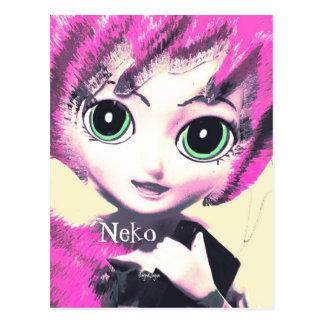 Fantasy Art  Postcard, Neko Girl Pink Postcards