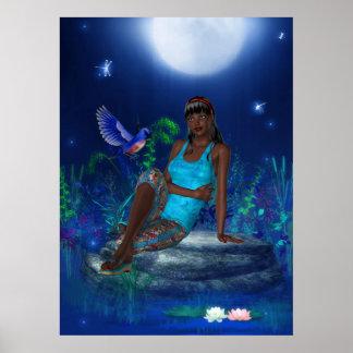 Fantasy Art Poster Moonlight Bird Girl
