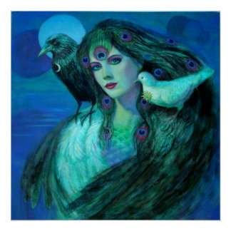 Fantasy Art Poster Peacock Feather Lady birds crow