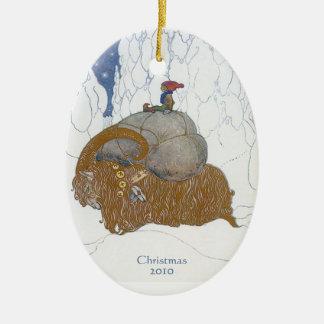 Fantasy Art Swedish Yule Goat Dated Personalized Ceramic Ornament