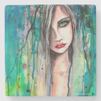 Fantasy Art Watercolor Portrait Modern Woman Stone Coaster
