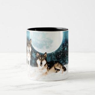 fantasy art wolf and moon mug - winter mug