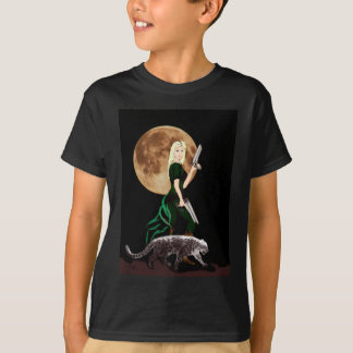 fantasy art, woman , moon ,  and snow leopard T-Shirt