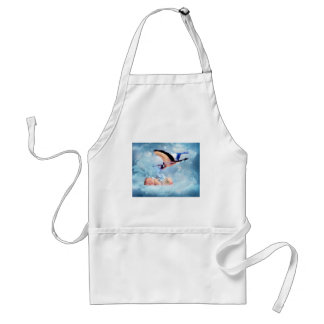 Fantasy baby and stork adult apron