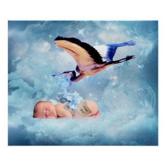 Fantasy baby and stork bedroom poster