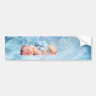 Fantasy baby and stork bumper sticker