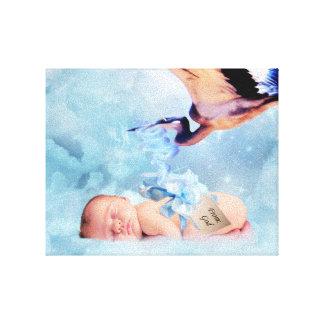 Fantasy baby and stork canvas print