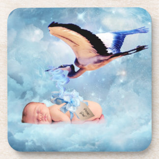 Fantasy baby and stork coaster