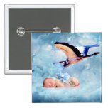 Fantasy baby and stork pinback button