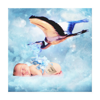 Fantasy baby and stork stretched canvas print