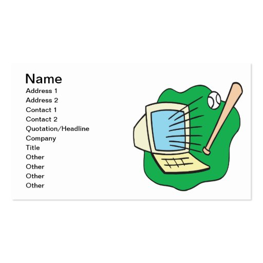 Fantasy Baseball Double-Sided Standard Business Cards (Pack Of 100)
