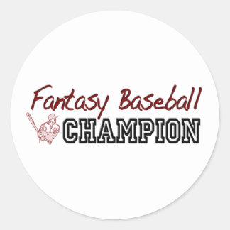 Fantasy Baseball Champion Classic Round Sticker