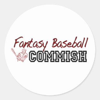 Fantasy Baseball Commish Classic Round Sticker
