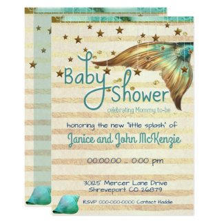 Fantasy Beach Mermaid Baby Shower Invitation