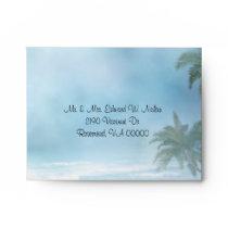 Fantasy Beach Theme Wedding RSVP Envelope