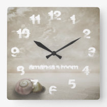 Fantasy Beach themed Personalized Square Wall Clock