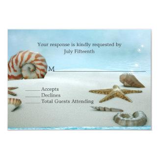 Fantasy Beach with Shells Wedding RSVP Card