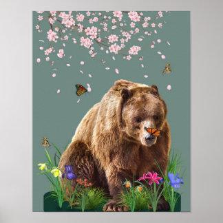 Fantasy Bear and Butterflies Customizable Poster